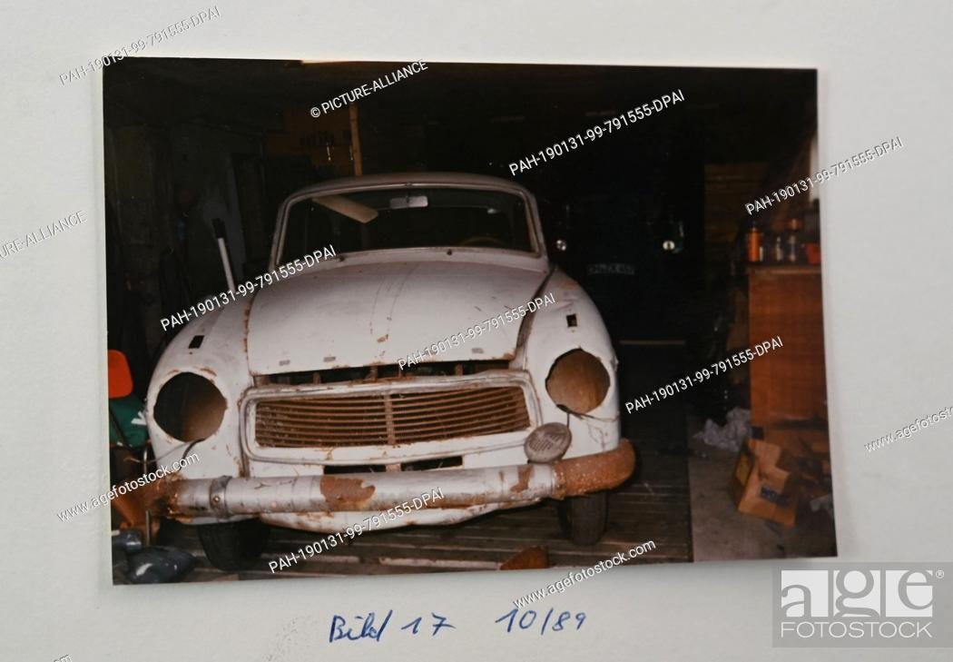 Stock Photo: 29 January 2019, Bremen: This photo was taken in 1989 by Carsten Pätzold, collector of vintage cars, of his Goliath Hansa 1100 Luxus, year of construction 1960.