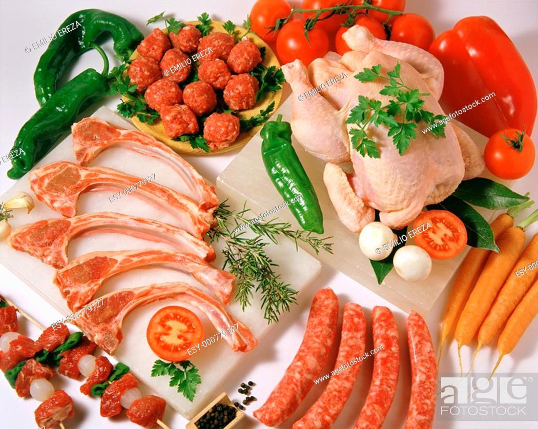 Photo de stock: Assorted meat.
