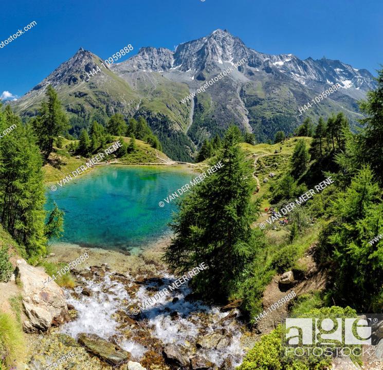 Imagen: Lac Bleu, lake, landscape, water, summer, mountains, hills, La Gouille, Val d'Herens, Wallis, Valais, Switzerland, Europe,.
