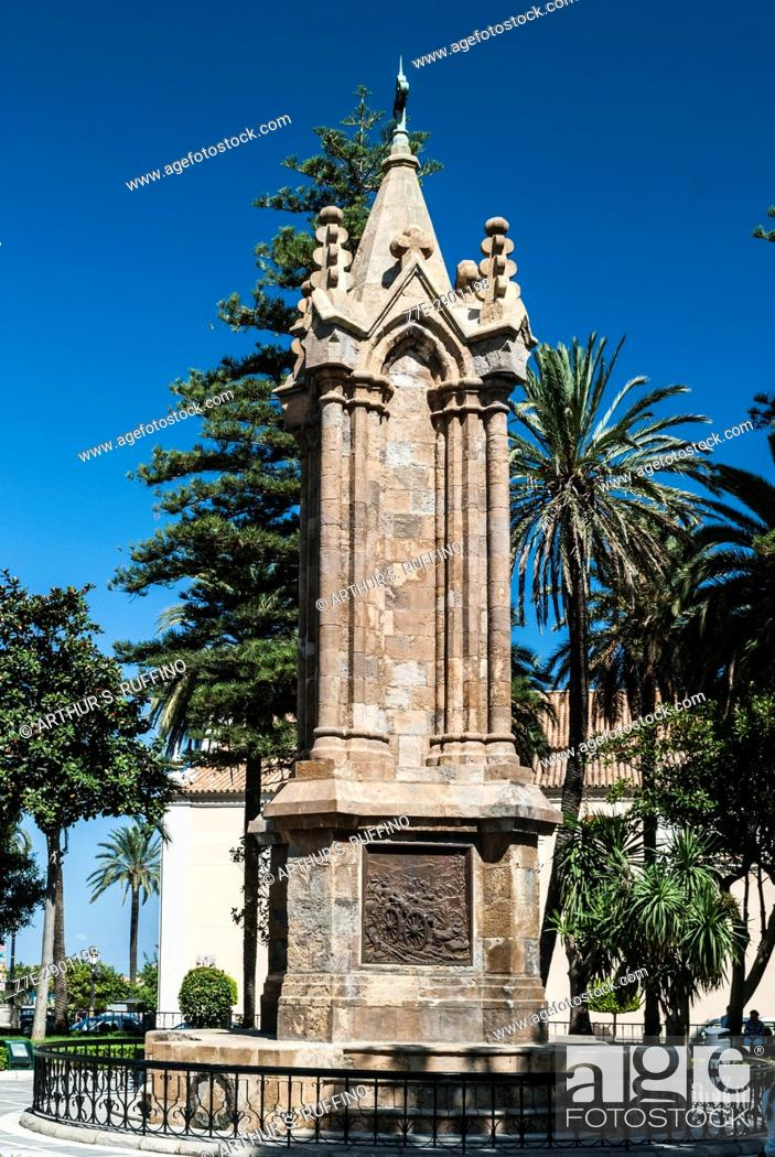 Stock Photo: War Memorial dedicated to the Spanish soldiers who died during the African War of 1859-1860, Plaza de Ã. frica, Ceuta, autonomous city, Spain, North Africa.