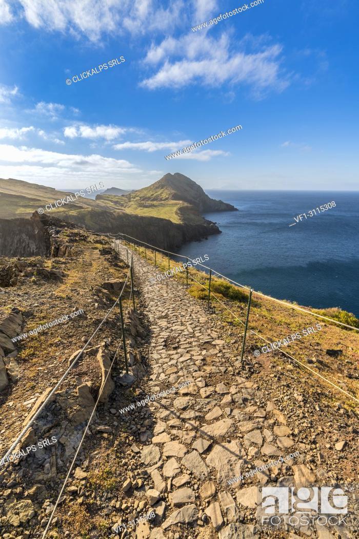 Stock Photo: The trail to Point of Saint Lawrence. Canical, Machico district, Madeira region, Portugal.