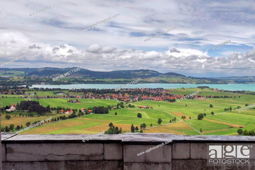 Stock Photo: Neuschwanstein Castle, view to Forggensee, Germany, Bavaria, Allgaeu, Fuessen.