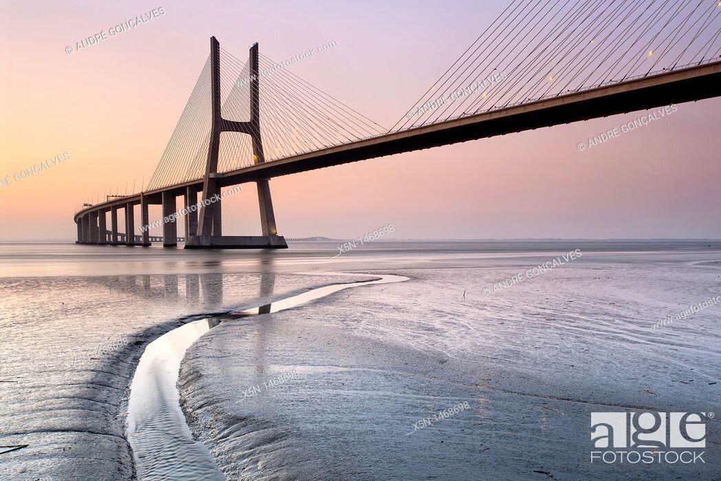 Stock Photo: Vasco da Gama Bridge, Lisbon, Portugal, Europe.