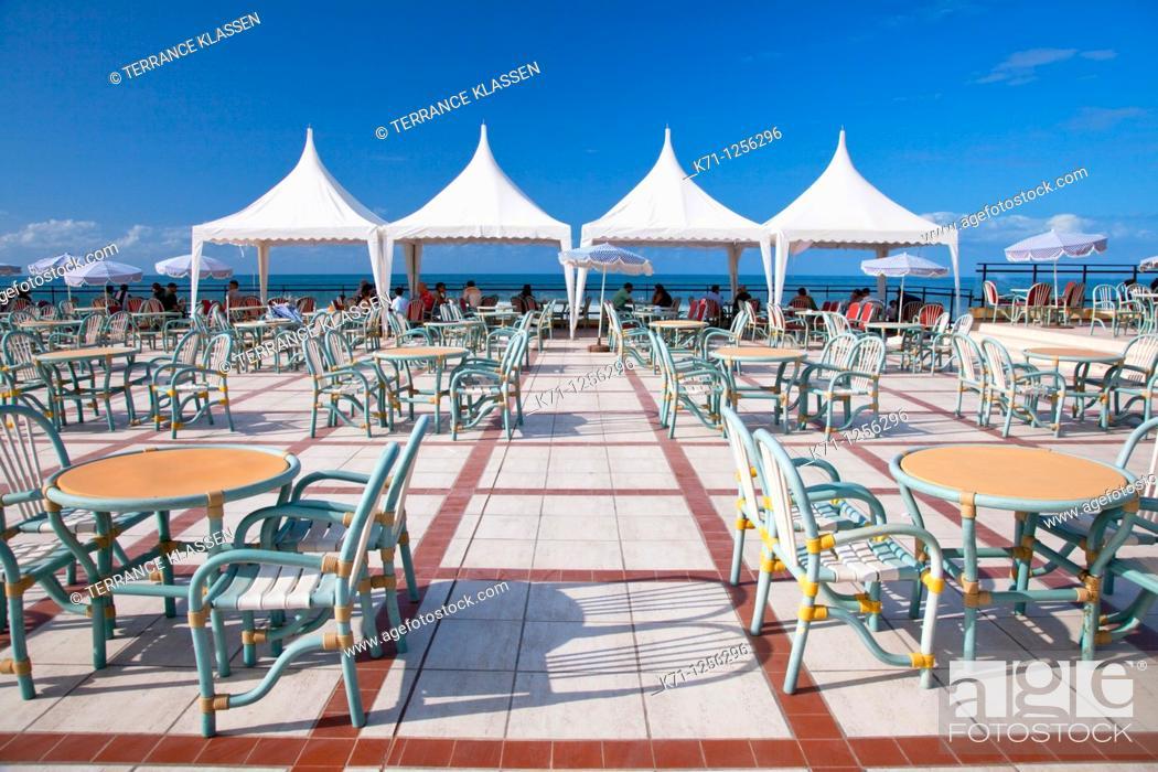 Stock Photo: A seaside outdoor restaurant on the Corniche in Casablanca, Morocco.