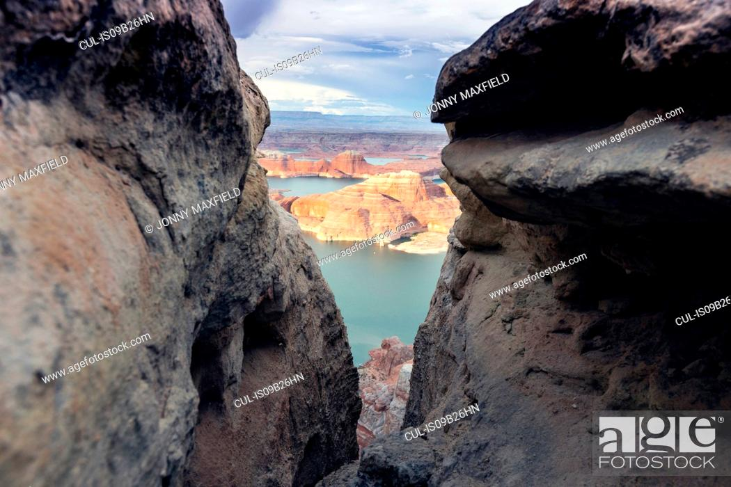 Stock Photo: View of Lake Powell between rock formations, Alstrom Point, Utah, USA.