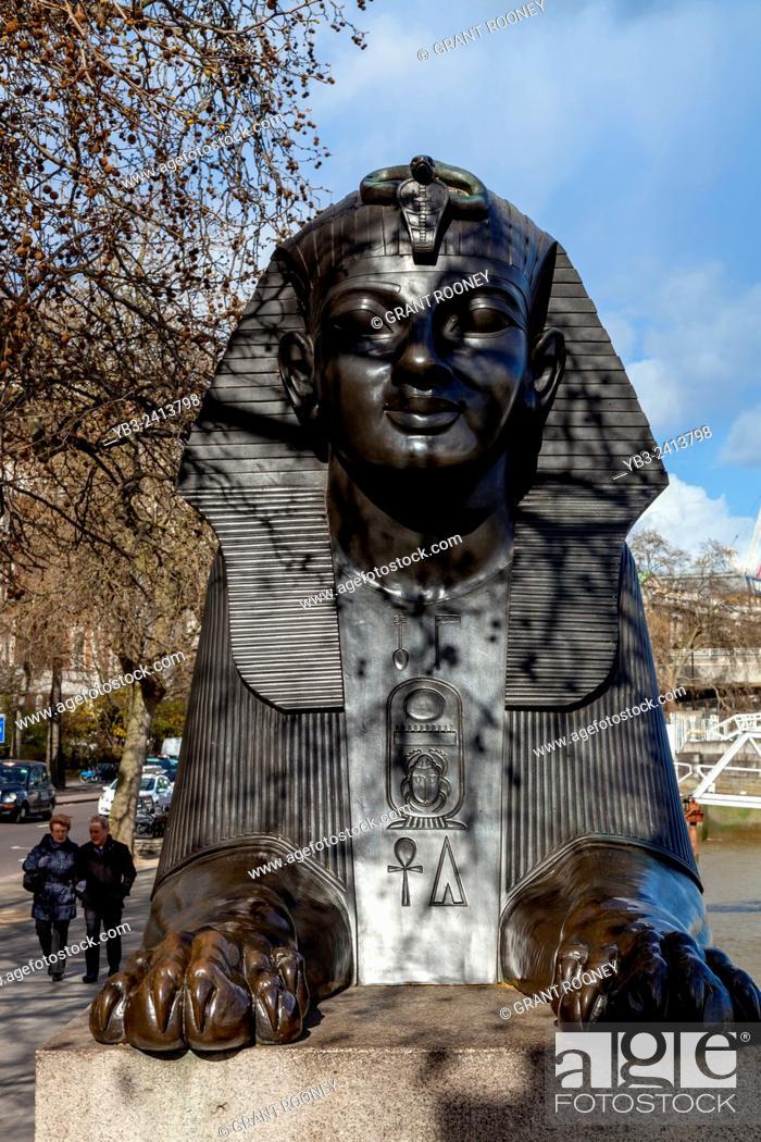 A Bronze Sphinx Guarding Cleopatras Needle Victoria Embankment