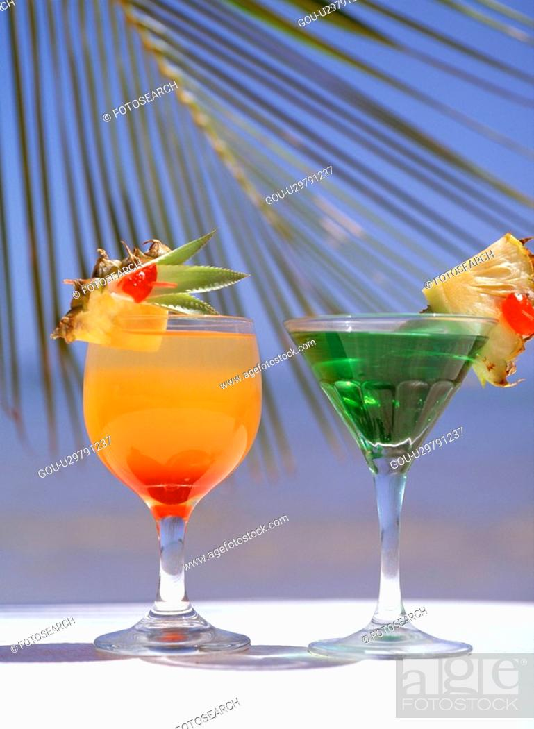 Stock Photo: Tropical drinks.