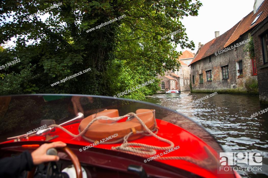 Stock Photo: Canals in the city  Bruges, Brugge, Flanders,Belgium, UNESCO World Heritage Site.