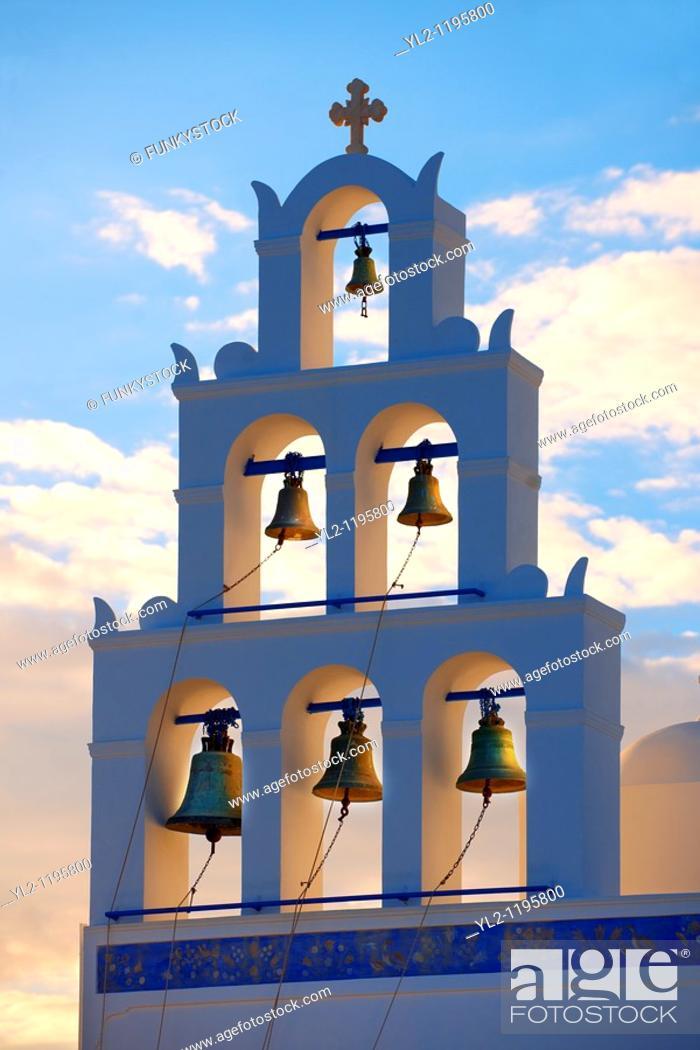 Stock Photo: Oia, Ia Santorini - Bell tower of Byzantine Orthodax churches, - Greek Cyclades islands.