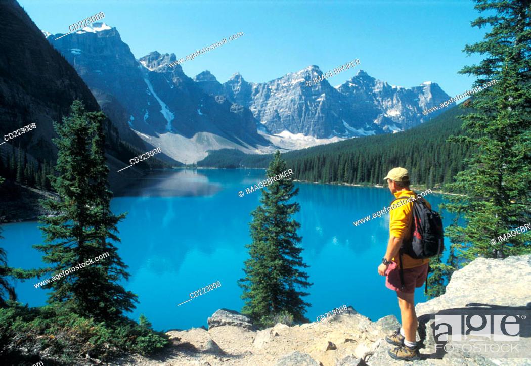 Stock Photo: Lake Moraine, Rocky Mountains, Canada.