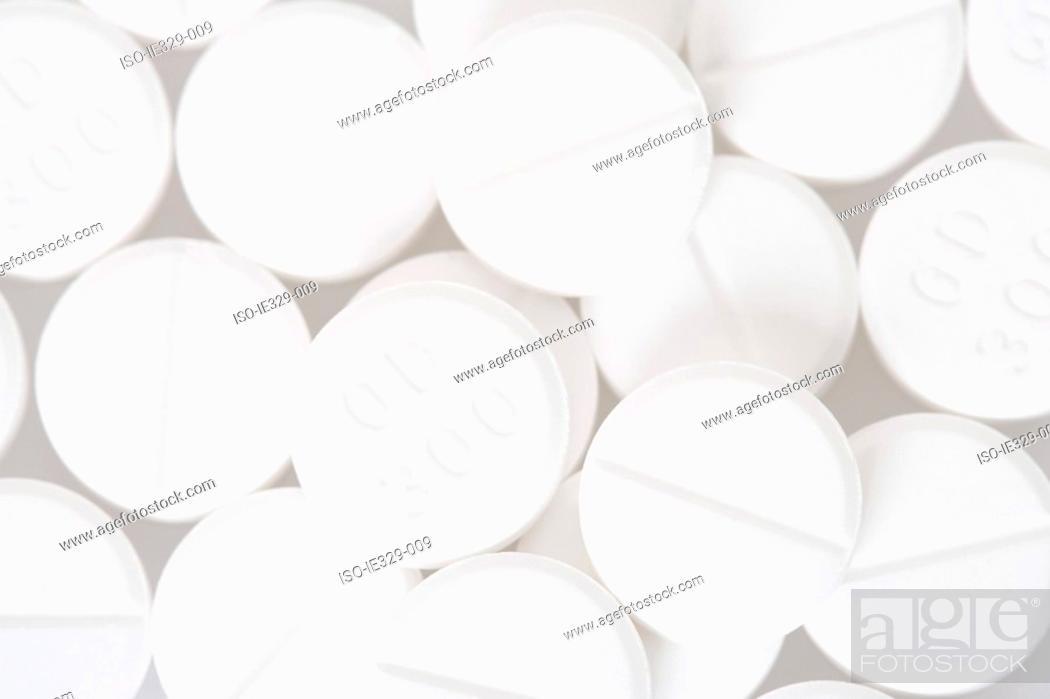 Stock Photo: Close up of white pills.