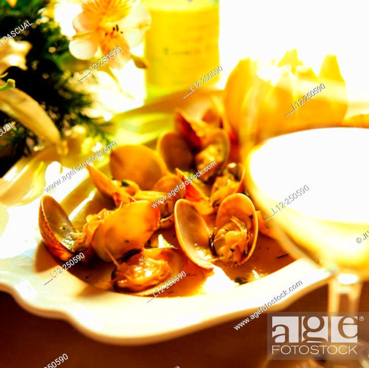 Stock Photo: Grilled clams. Restaurant Etxebarri, Axpe, Basque Country. Spain.