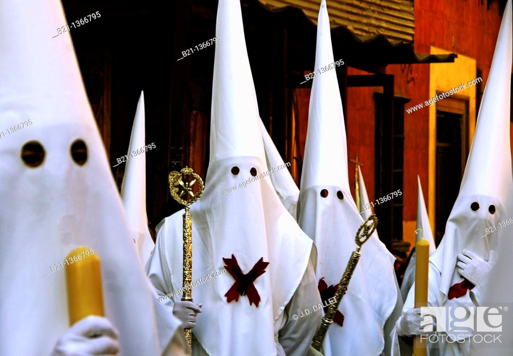 Stock Photo: Holy Week procession at Granada, Andalusia, Spain.