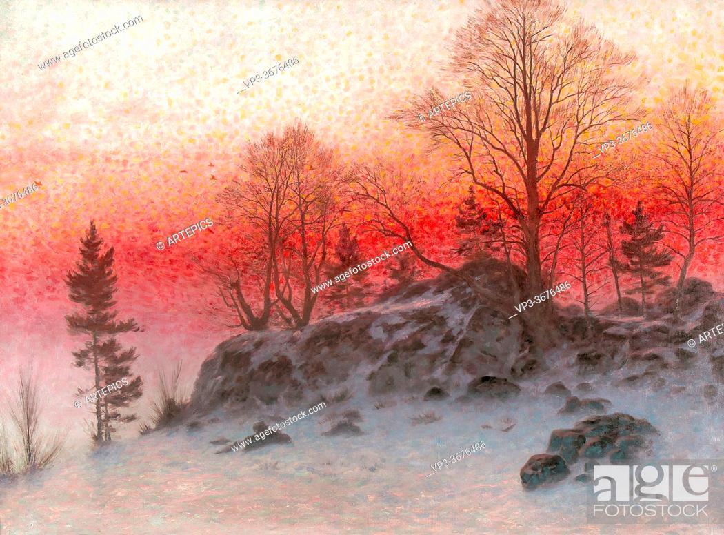 Stock Photo: Ekwall Knut - a Winter's Evening - Swedish School - 19th Century.