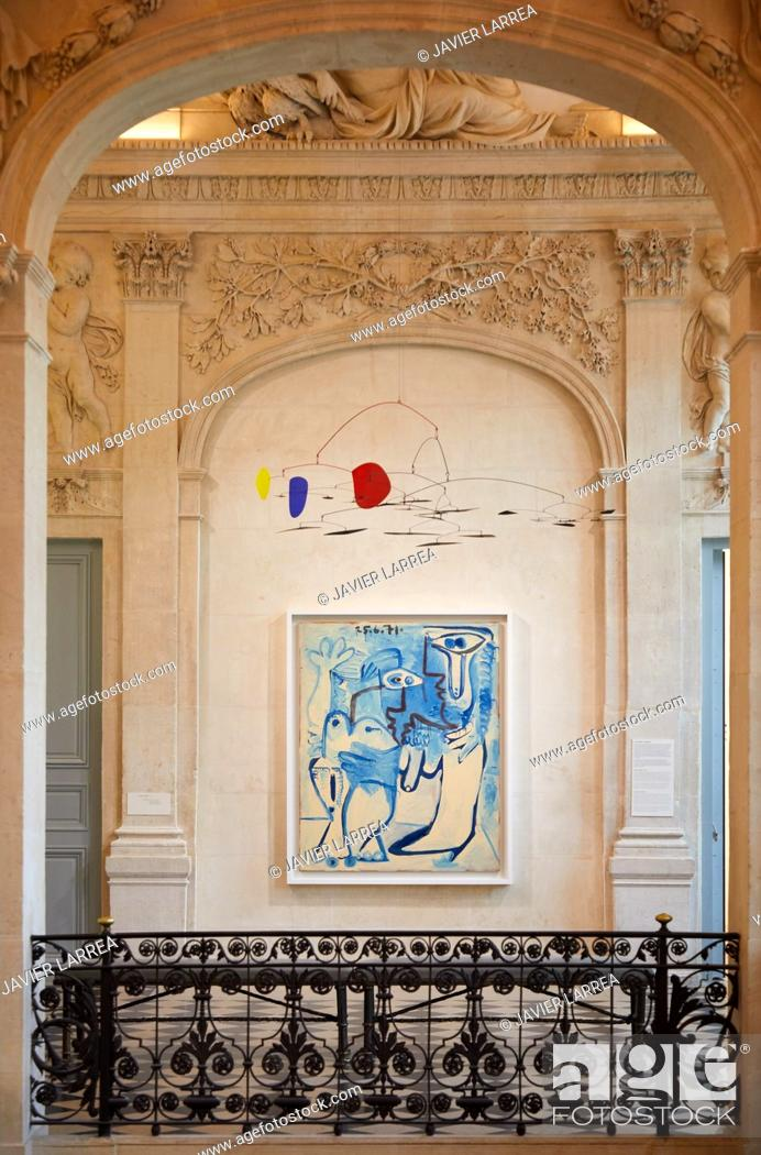 "Stock Photo: ""Couple"", 1970-1971, Pablo Picasso, and ""Sans titre"", 1956, Alexander Calder, Picasso Museum, Paris, France, Europe."