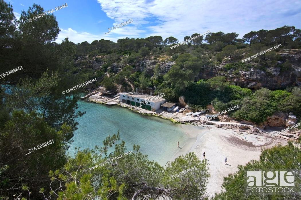 Stock Photo: Cala Pi coast with natural shrub vegetation, steep cliffs and shed in Mallorca, Spain.
