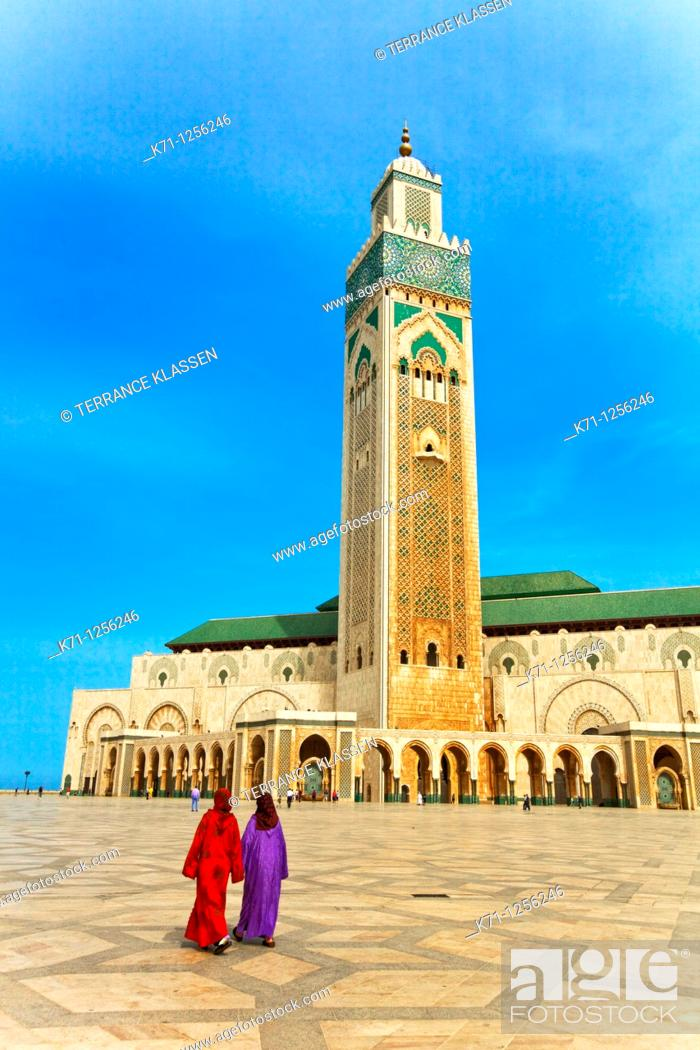 Stock Photo: Exterior of the Hassan II mosque in Casablanca, Morocco.