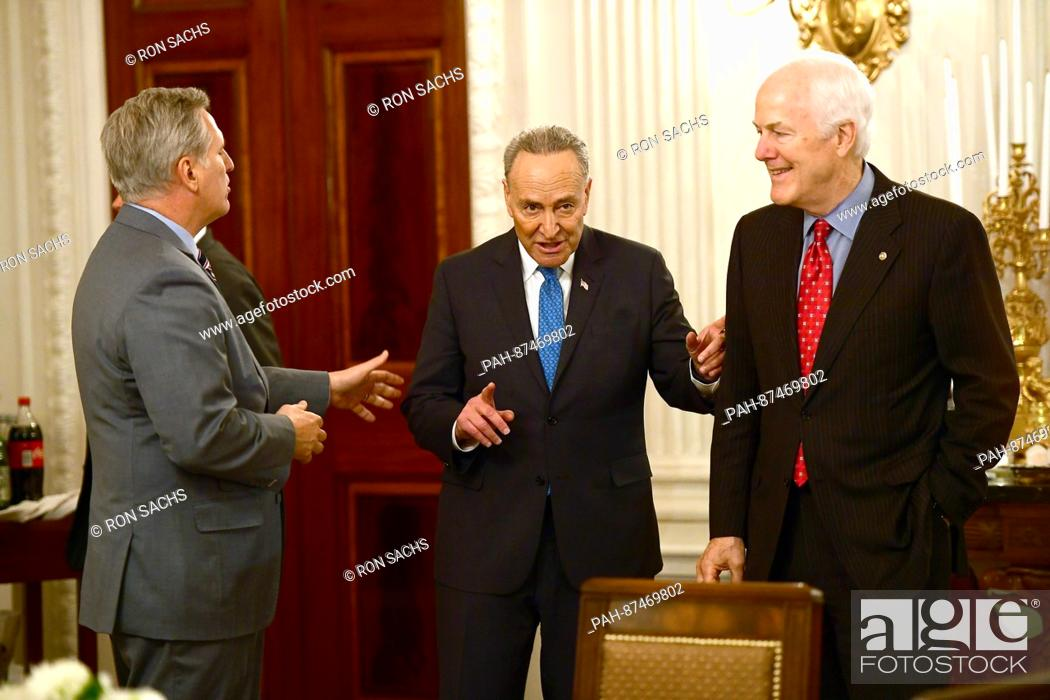 Stock Photo: United States Senate Minority Leader Chuck Schumer (Democrat of New York), center, engages in conversation with US House Majority Leader Kevin McCarthy.