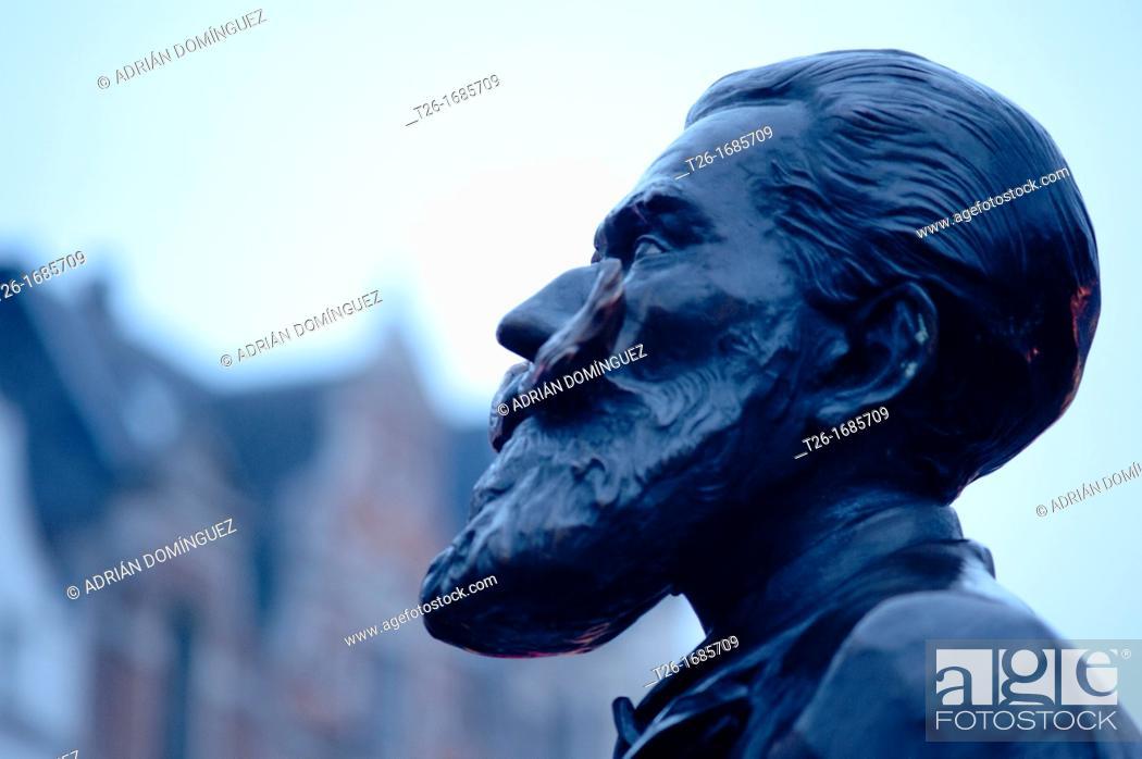 Stock Photo: Charles Buls statue in Brussels, Belgium.