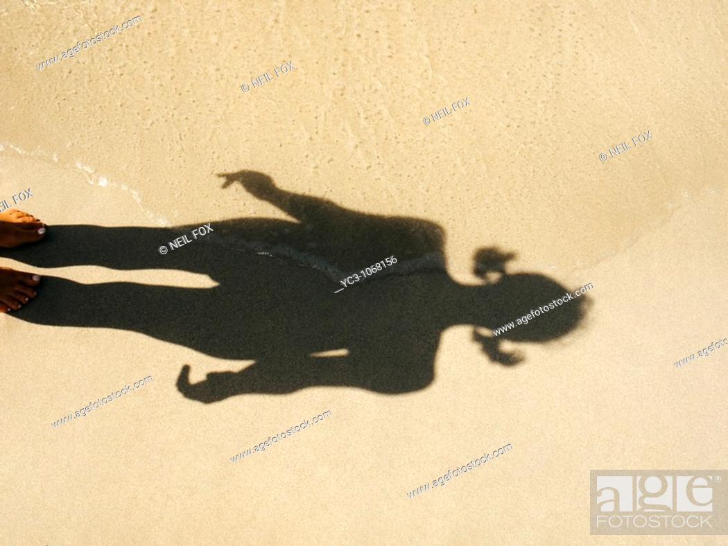 Stock Photo: Beach shadow.
