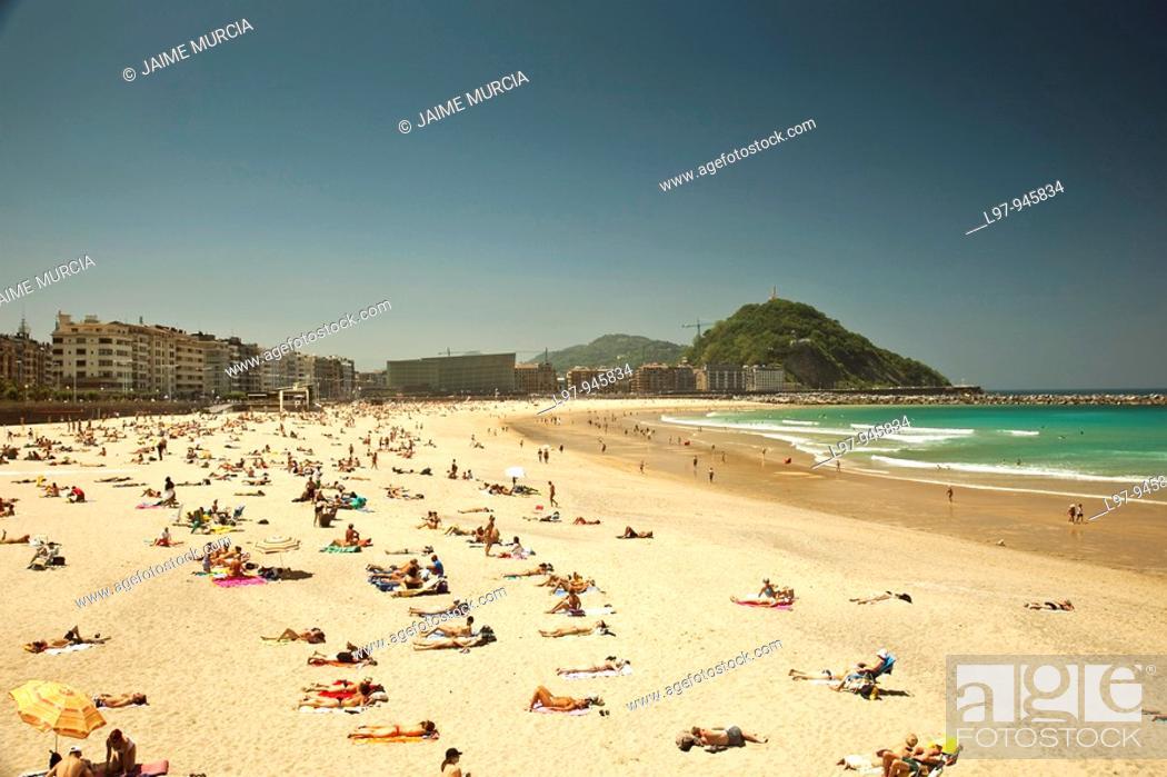 Stock Photo: View across beach de la Zurriola, San Sebastian.