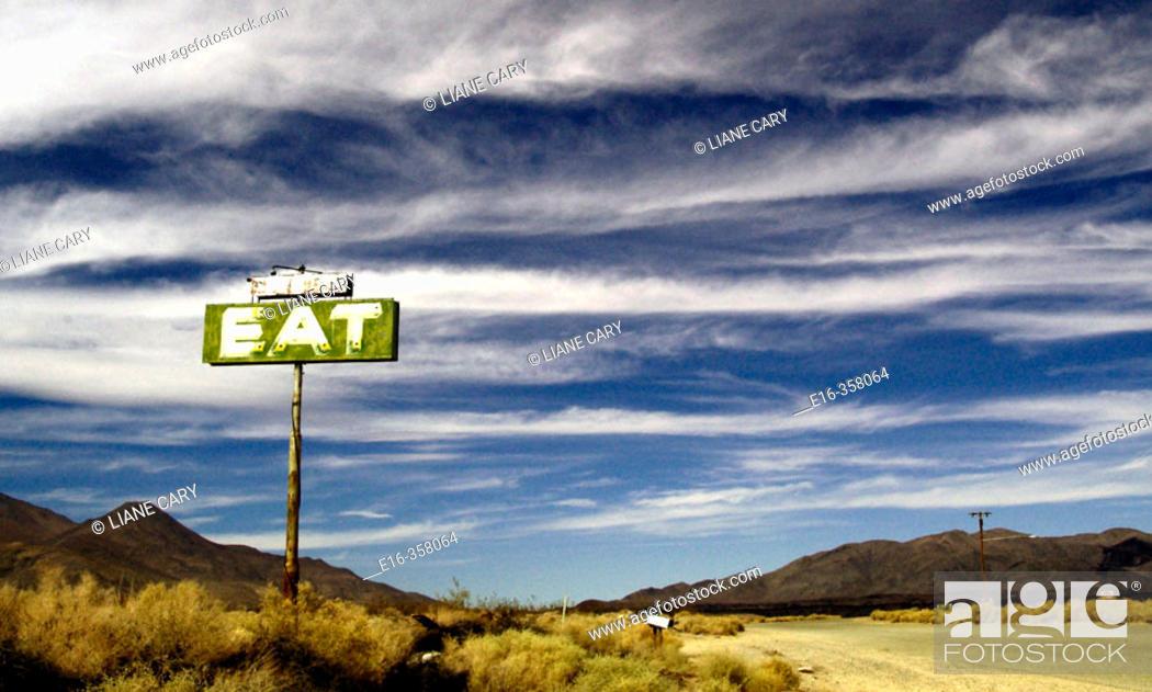 Stock Photo: desert diner sign, California.