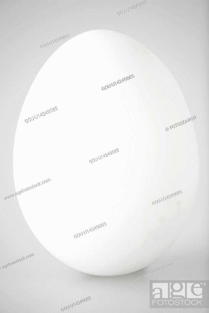 Stock Photo: Single white egg (close-up).