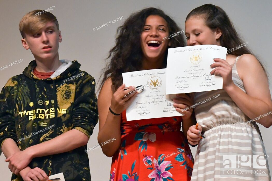 Stock Photo: Middle School Students Receiving Excellence in Academics Awards, Wellsville, New York, USA.