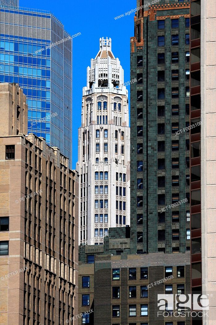 Stock Photo: United States, Illinois, Chicago, buildings.