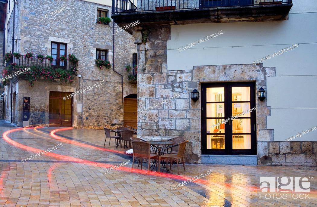 Stock Photo: Main square, Besalú, Garrotxa, Girona province  Catalonia  Spain.