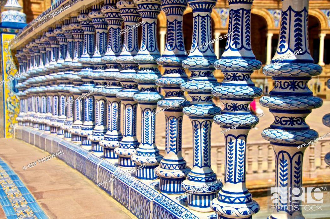 Stock Photo: Ceramic decor columns, Plaza de Espana, Seville, Andalusia, Spain.