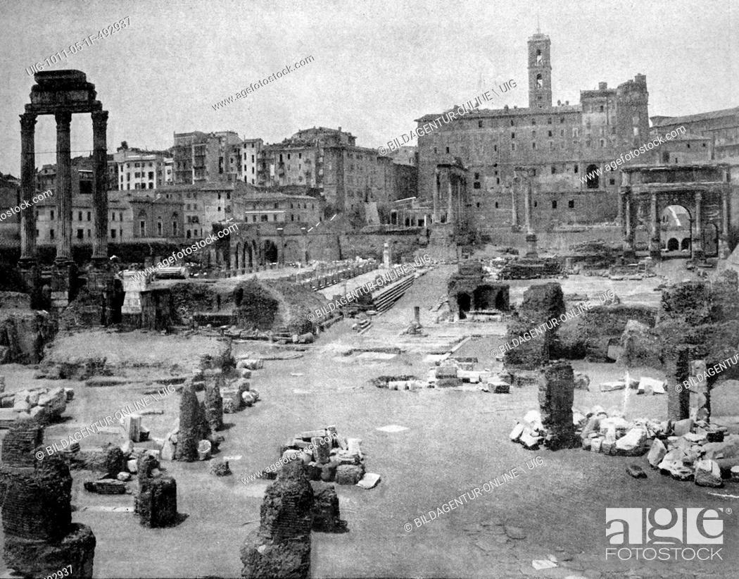 Stock Photo: Early autotype of the forum romanum, rome, latium, italy, historical picture, 1884.