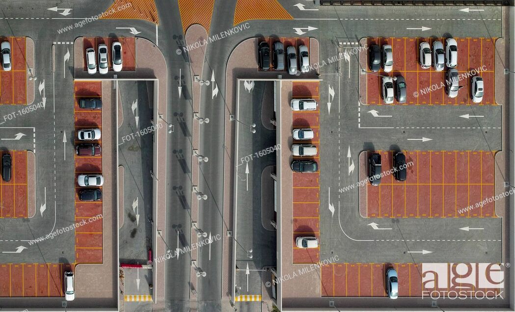 Stock Photo: Directly above shot of cars in parking lot.