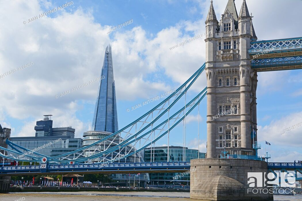 Stock Photo: Partial view of the Tower Bridge over the River Thames. We can also see the City Hall and The Shard. London, England, Great Britain, Europe.