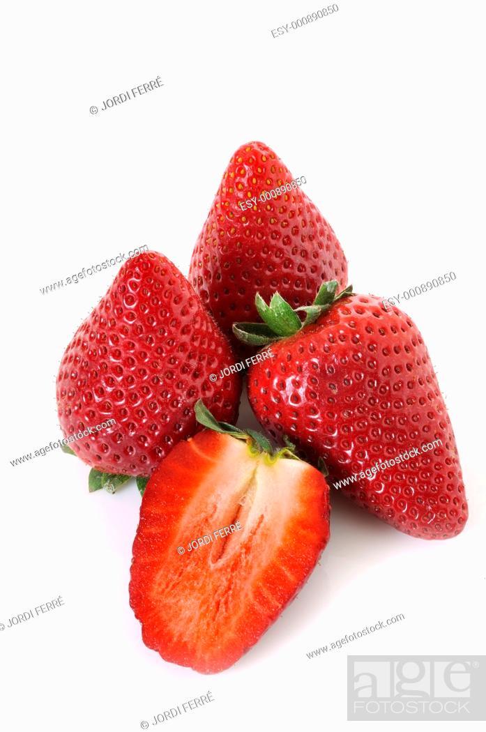 Stock Photo: strawberries on white background.