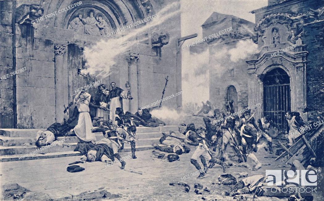 Stock Photo: 'An Episode of the Siege of Saragossa', c1808-1809, (1896). Artist: Unknown.