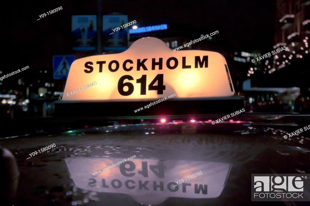 Stock Photo: Taxi, Stockholm, Sweden.