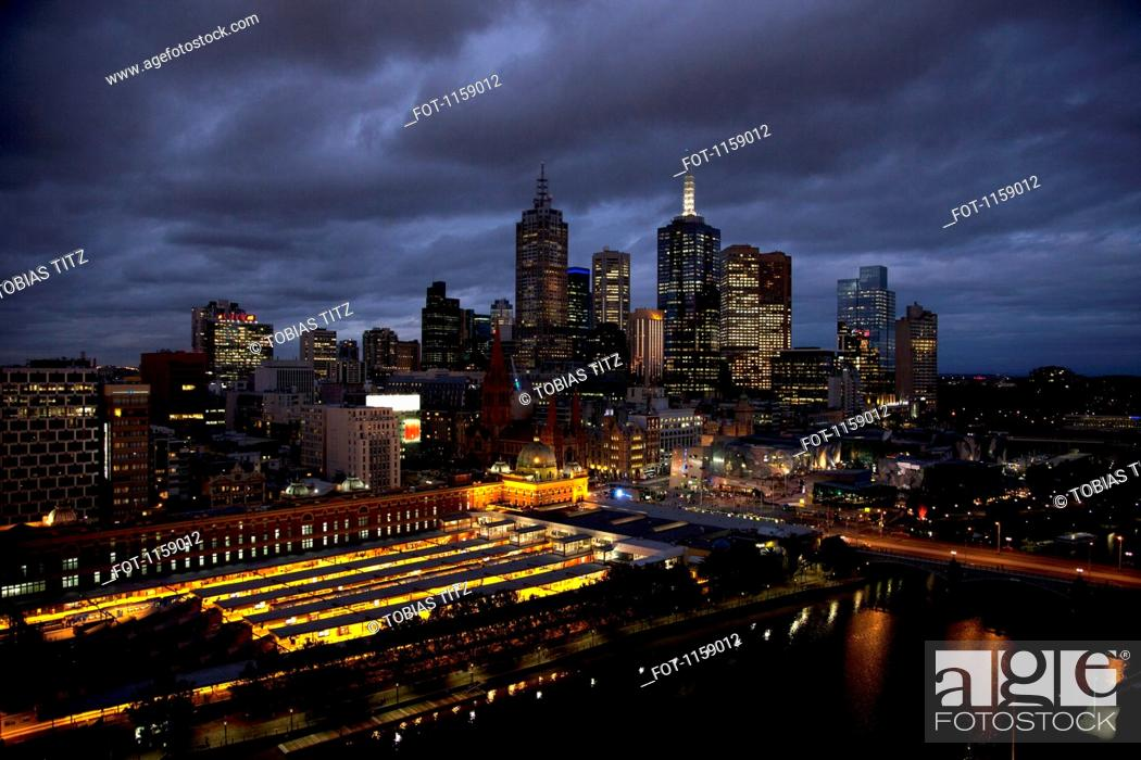 Stock Photo: Melbourne cityscape at night.