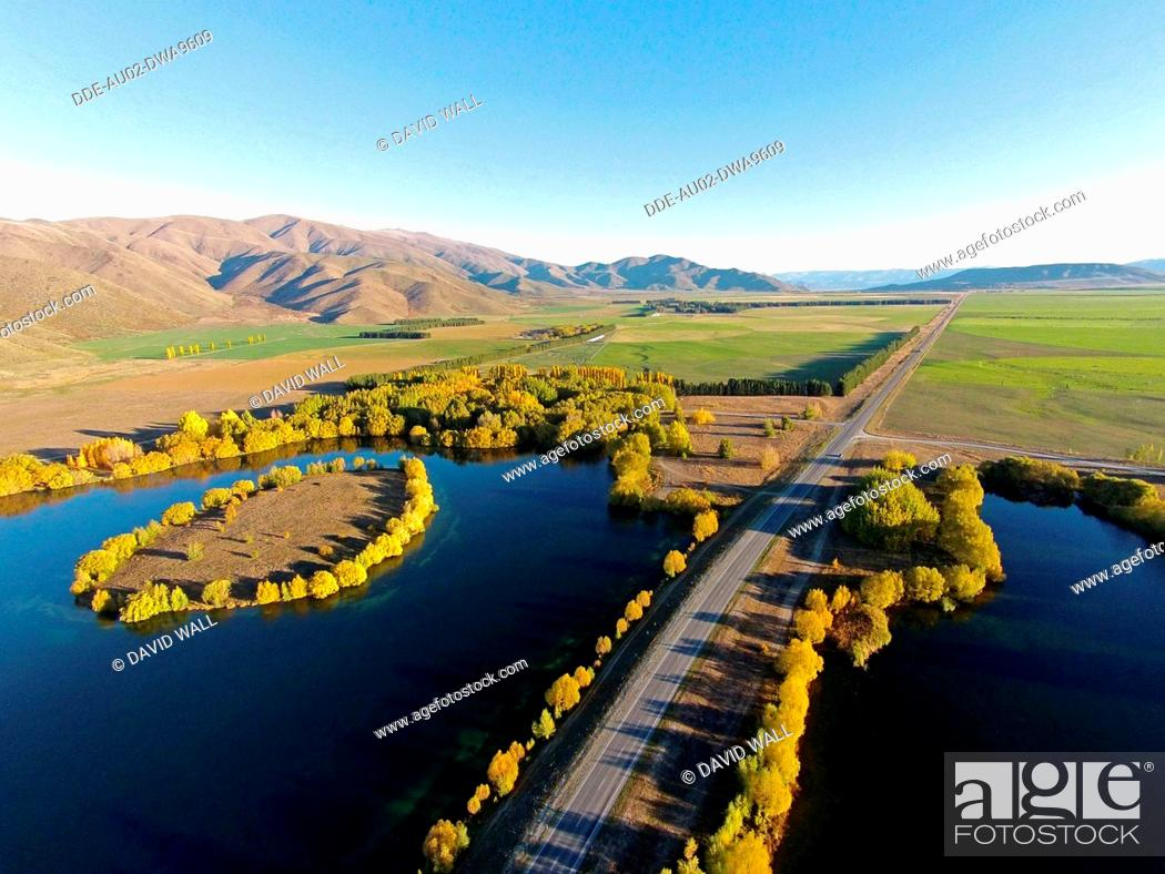 Stock Photo: Wairepo Arm, State Highway 8, and Kellands Pond, Lake Ruataniwha, near Twizel, Mackenzie District, South Canterbury, South Island, New Zealand, drone aerial.