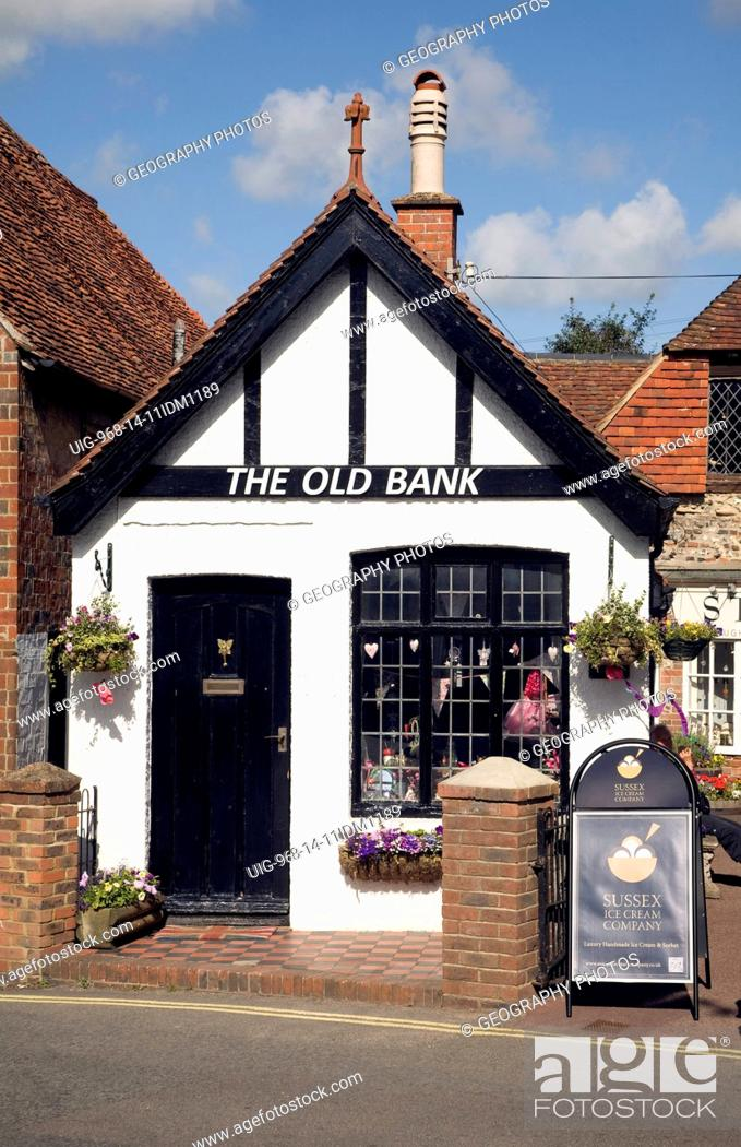 Stock Photo: The Old Bank converted to a shop, Alfriston, East Sussex, England.