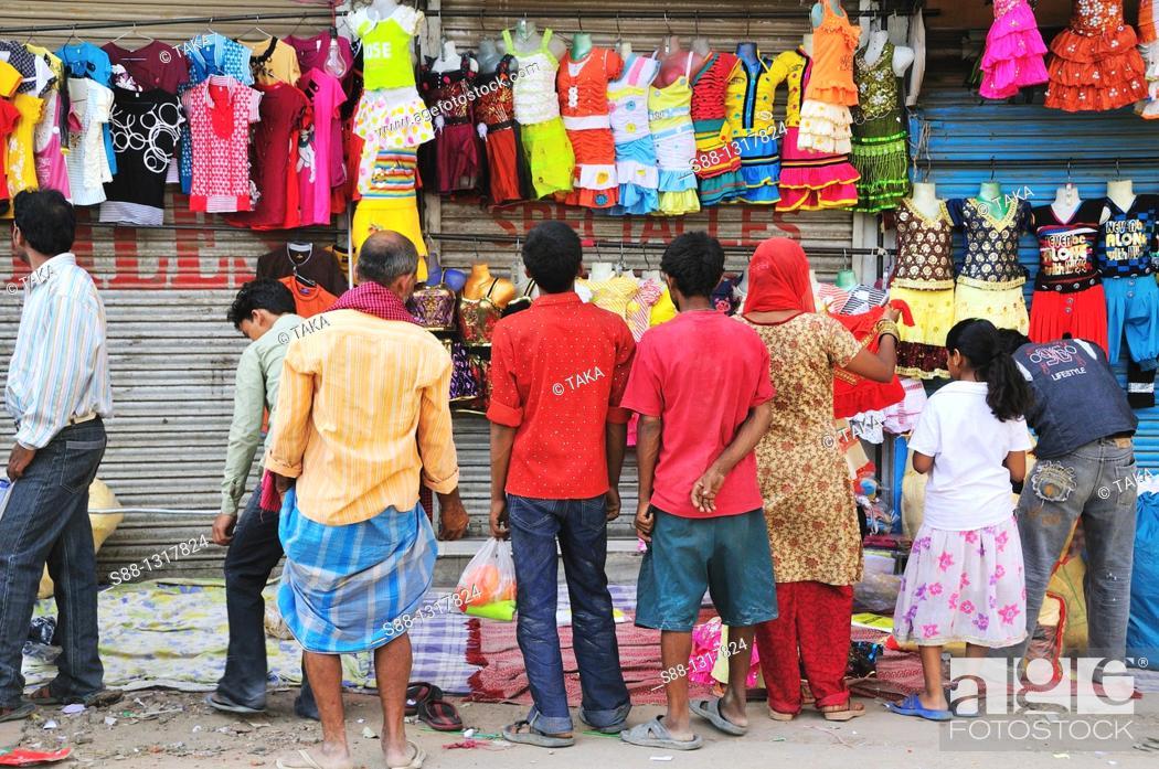 Stock Photo: Shopping on the street market, Delhi India.