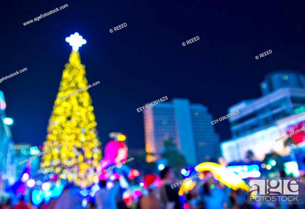 Stock Photo: Christmas tree at night.