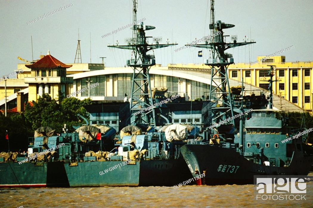 Stock Photo: Communication towers on warships, Shanghai, China.
