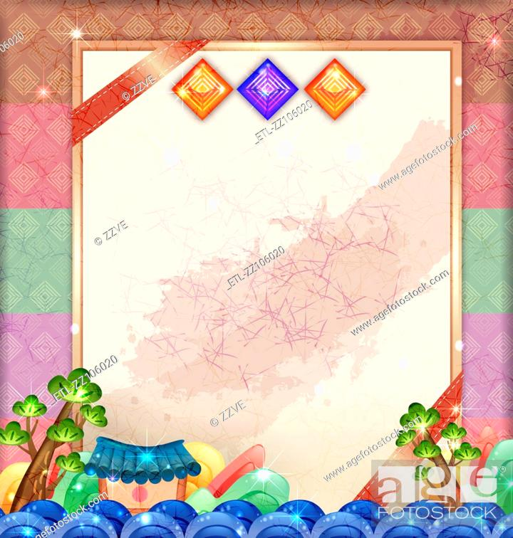 Stock Photo: Chinese card with traditional element of china.