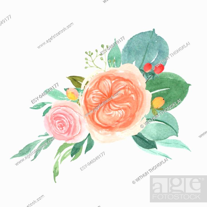 Stock Photo: Watercolor florals hand painted bouquets lush flowers llustration vintage style aquarelle isolated on white background. Design decor for card, save the date.