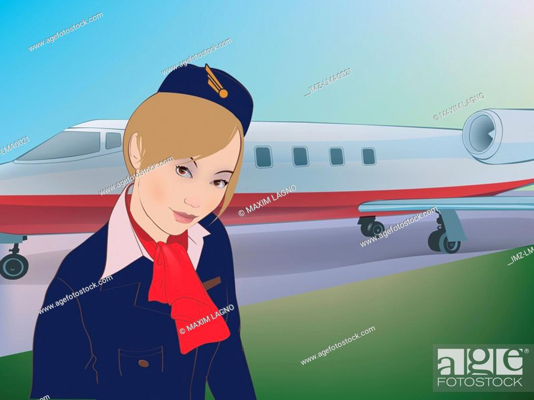 Stock Photo: A flight attendant in front of an airplane.