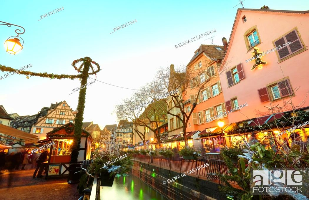 Stock Photo: Christmas market and lights decoration at the city center. Colmar. Wine route. Haut-Rhin. Alsace. France.