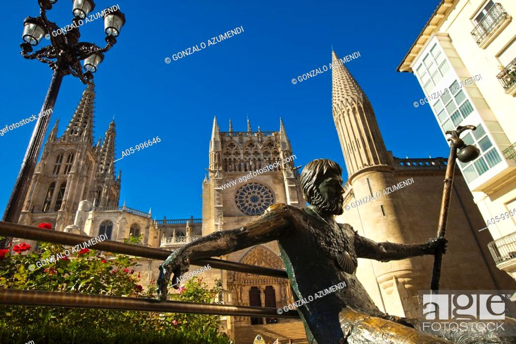 Stock Photo: Pilgrim sculpture and cathedral, Burgos. Castilla-Leon, Spain.