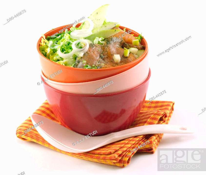 Stock Photo: Salad of lettuce hearts and marinated salmon.
