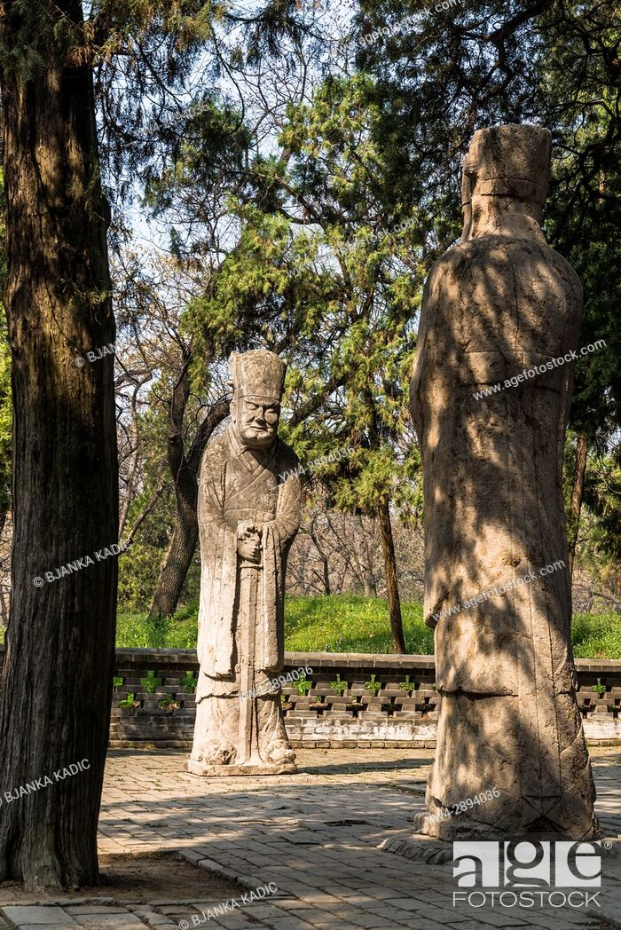 Stock Photo: Two stone ushers, Cemetery of Confucius (Kong Lin), Qufu, Shandong province, the hometown of Confucius, China.